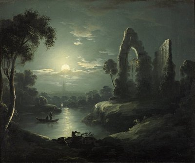 Moonlit River Landscape by British School - print