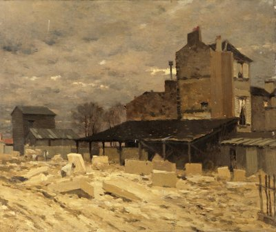 Stone Yard - Old Houses in Paris Poster Art Print by Marie Cazin