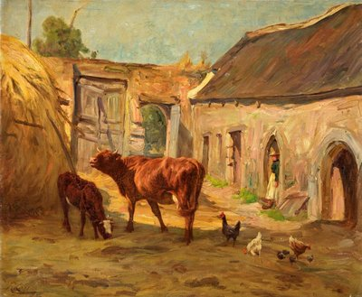 Cattle in Yard by R. Corren - print