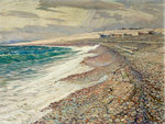Chesil Beach, Winter by Leslie Moffat Ward - print