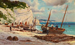 The Beach at Beer by Frederick R. Fitzgerald - print