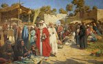 Market at Damascus by Percy R. Craft - print