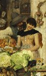 A Venetian Vegetable Stall - Courtship by Giacomo Favretto - print