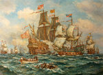 The Heroic Action of HMS 'Revenge' against the Spanish Fleet, 1591 by Bernard Finnigan Gribble - print