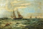 Coastal Craft on a Choppy Sea by Bernard Benedict Hemy - print