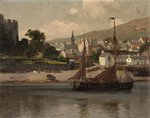 Castle, River and Barge by Lauritz Holst - print
