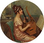 Woman Playing A Lyre by Cesare Saccaggi - print