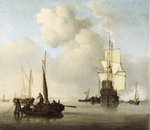 Shipping in a Calm by Willem Van de Velde the Younger - print