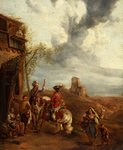 Horsemen at an Inn by Anonymous - print
