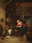 Interior with Women, Fish, Kettles by Hendrick Maartensz Sorgh - print