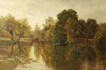 Crummock Water, Evening - A Quiet River by Alfred De Breanski - print
