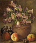 Still Life with Fruit and Canterbury Bells by George Walter Harris - print