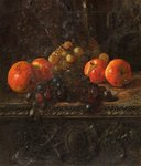 Still Life with Apples and Grapes on a Ledge by George Walter Harris - print