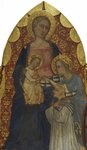 Madonna and Child with St. Catherine and a Donor by School of Giovanni del Biondo - print