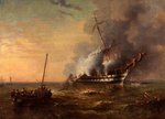HMS 'Bombay' on Fire at Montevideo, 22 December 1828 by George Kerr - print