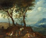 Landscape with Peasant Figures by Pieter Paul Brueghel the Younger - print