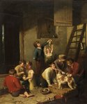 Children Playing with Puppies by William Collins - print