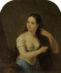 Girl Combing her Hair by James William Giles - print