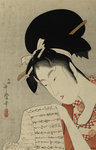 Woman Reading by Utamaro Kitagawa - print