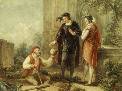 Hamlet, Act V, Sc. i, Churchyard, Hamlet, Horatio and Clown by John Massey Wright - print