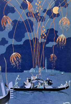 Fireworks in Venice Poster Art Print by Georges Barbier