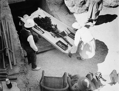 Funeral bouquet being removed from the tomb of Tutankhamun Poster Art Print by Harry Burton