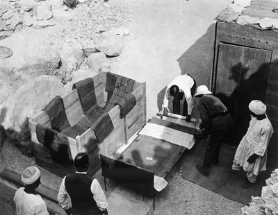 Archaeologists working at the Tomb of Tutankhamun Poster Art Print by Harry Burton