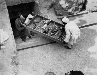 Removing a tray of chariot parts from the Tomb of Tutankhamun Poster Art Print by Harry Burton