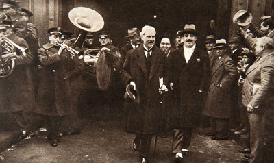 Ramsay MacDonald in New York being escorted by Grover Whalen Poster Art Print by S and G
