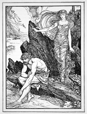 Calypso Takes Pity on Ulysses Poster Art Print by Henry Justice Ford