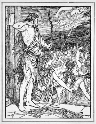 Ulysses Shoots the First Arrow at the Wooers Poster Art Print by Henry Justice Ford