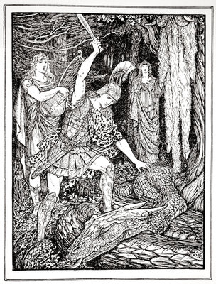 How the Serpent that guarded the Gold Fleece was slain Poster Art Print by Henry Justice Ford