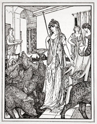 Circe sends the Swine (The Companions of Ulysses) to the Styes Poster Art Print by Henry Justice Ford