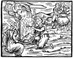 Witches roasting and boiling infants Poster Art Print by Matteo di Giovanni di Bartolo