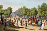 Encampment of the British army in the Bois de Boulogne Poster Art Print by Jacques Francois Joseph Swebach