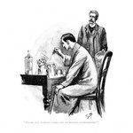 Holmes was working Hard over a Chemical Investigation Poster Art Print by Neville Dear