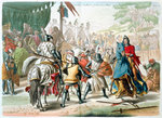 Knights duelling on foot in a tournament Poster Art Print by Ron Embleton