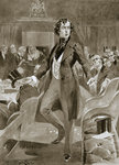 Disraeli's first speech in the House of Commons Poster Art Print by English School