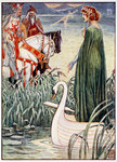 King Arthur asks the Lady of the Lake for the sword Excalibur Poster Art Print by William Bell Scott