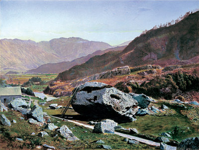 Fine Art Print of Bowder Stone, Borrowdale, c.1863-8 by Atkinson Grimshaw