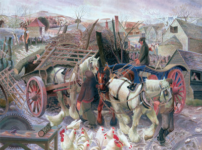 A Cotswold Farm, 1930-1 Poster Art Print by Gilbert Spencer