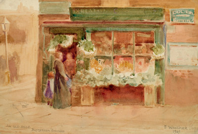 An Old Shop, Battersea Bridge Poster Art Print by Ethel Woolmer