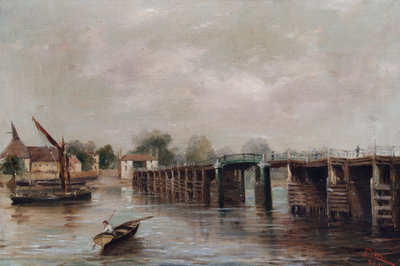 Old Putney Bridge, London Poster Art Print by Parrini