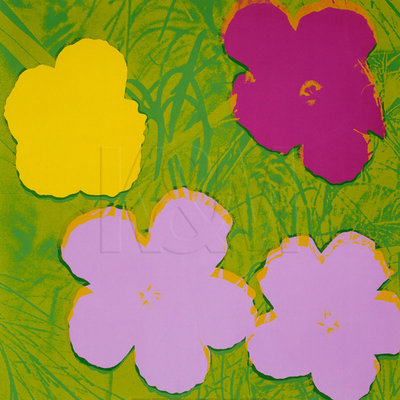 Flowers, 1970 (1 yellow, 2 lilac, 1 purple) by Andy Warhol - print