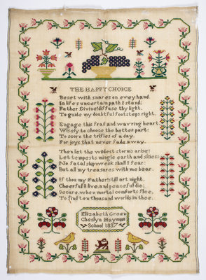 Sampler stitched with a poem, &amp;quot;The Happy Choice&amp;quot;, &amp;quot;Elizabeth Green, Cheslyn Hay School, 1837&amp;quot; by Unknown - print