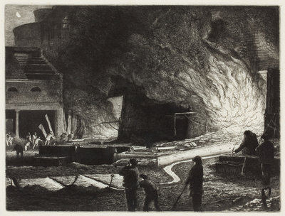 Tapping the Blast Furnaces, 1872 by Richard Samuel Chattock - print