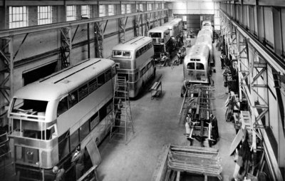 Trolley and Motor Buses, Guy Motors Ltd., Fallings Park, Wolverhampton, 1950s by Unknown - print