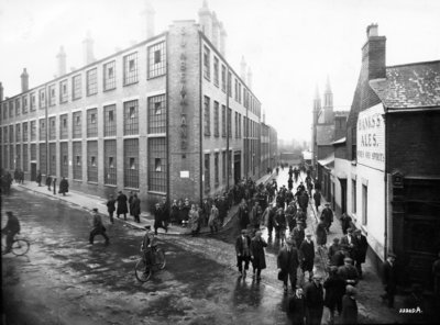 Workers Leaving 'Sunbeamland', Paul Street, Wolverhampton, 1930s by unknown - print