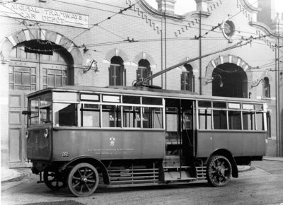 Trolleybus, Cleveland Road Bus Depot, Wolverhampton, June 3 1927 by Unknown - print