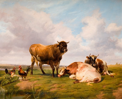 Landscape with Cattle and Fowl, 1876 by Thomas Sidney Cooper - print